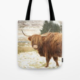 Red Highland Cattle in Winter Tote Bag