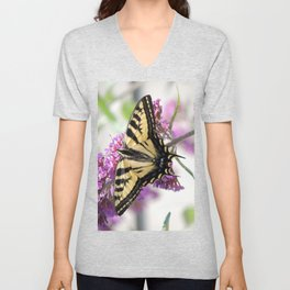 Western Tiger Swallowtail on the Neighbor's Butterfly Bush Unisex V-Neck