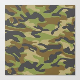 Green Military Camouflage Pattern Canvas Print