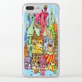 Suburbia USA Watercolor Clear iPhone Case