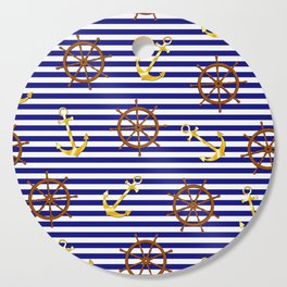 Nautical pattern with gold anchor, ship steering wheel Cutting Board