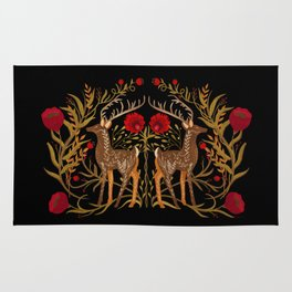 Two Stags Protecting The Dark Forest Gate Rug