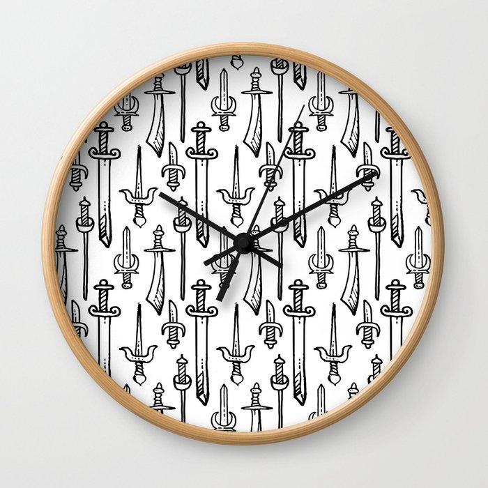 Swords & Daggers Pattern Wall Clock