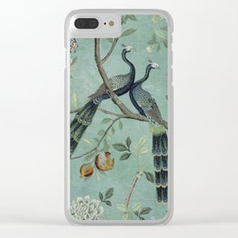 A Teal of Two Birds Chinoiserie Clear iPhone Case