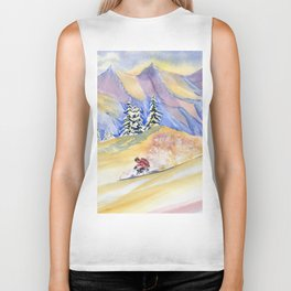 Powder Skiing Art Biker Tank