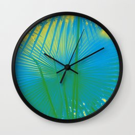 turquoise palm leaf Wall Clock
