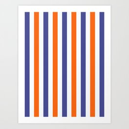 Blue And Orange Summer Stripes Art Print