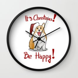 Christmas Corgi Wall Clock