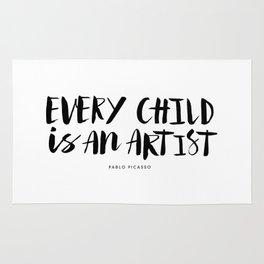 Every Child is an Artist black-white kindergarten nursery kids childrens room wall home decor Rug