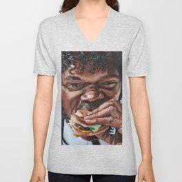 Jules Eat A Big Kahun Burger - Pulp Fiction Painting Unisex V-Neck