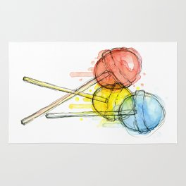 Lollipop Red Blue Yellow Candy Food Watercolor Rug