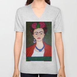 Frida Kahlo portrait with dalias Unisex V-Neck
