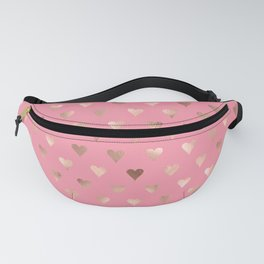 Pink Rose Gold Love Hearts Fanny Pack