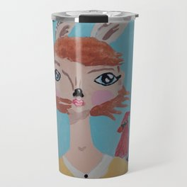 ~ Deer and Cardinal ~ 10 Year Old Amelia's Arizona Critter Girl ~ Deer and Cardinal ~ Travel Mug