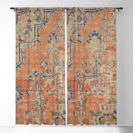 Vintage Woven Navy and Orange Blackout Curtain