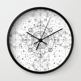 Black and white sacred geometry, Sci fi, Mechanical art Wall Clock