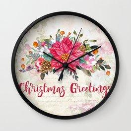 Christmas Greetings Poinsettia Bouquet Wall Clock