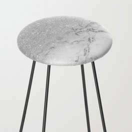 Modern faux grey silver glitter ombre white marble Counter Stool