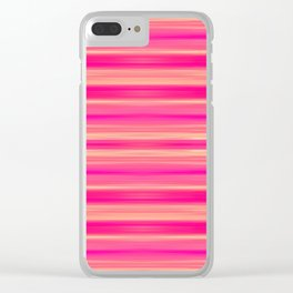 Coral and Pink Brush Stroke Painted Stripes Clear iPhone Case