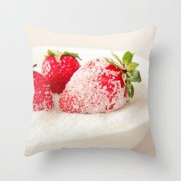 Sugar strawberries Throw Pillow