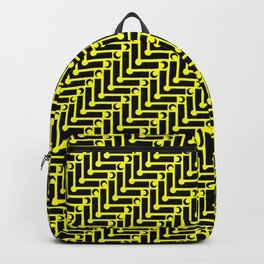 Yellow and Black Geometric Pattern Backpack