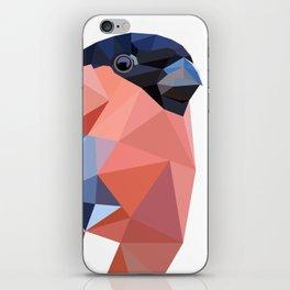 Geometric  bullfinch burd art Pink gray iPhone Skin