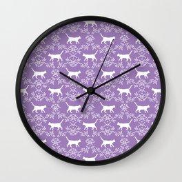 Cat florals floral silhouette pet portrait cat art cat lady purple and white Wall Clock