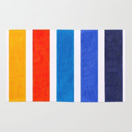 Blue & Orange Stripe Pattern Rug