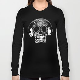 Tangled Skull with Headphones Long Sleeve T-shirt