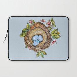 Bird nest Spring watercolor blue Laptop Sleeve