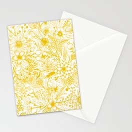 Yellow Floral Doodles Stationery Cards