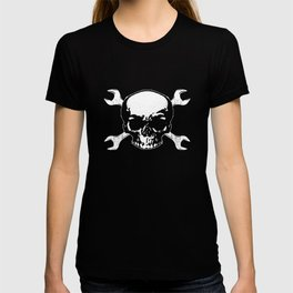 Skull Crossed Wrenches Racing Cars Mechanic Men_s Car T-shirt