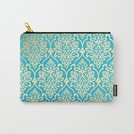 Teal Gold Mermaid Damask Pattern Carry-All Pouch