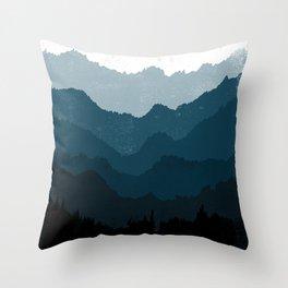 Mists No. 6 - Ombre Blue Ridge Mountains Art Print Throw Pillow
