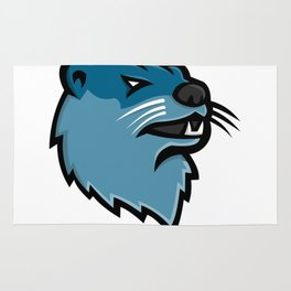 River Otter Head Mascot Rug