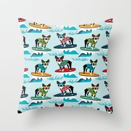 Boston Terrier surfing pattern cute pet gifts dog lovers boston terriers Throw Pillow