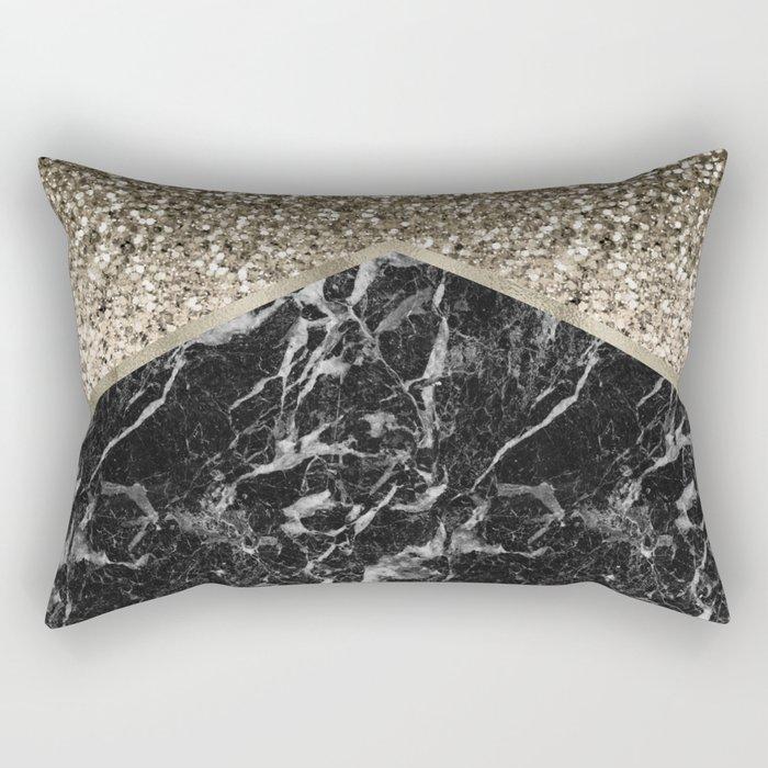 Shimmering golden chevron black marble Rectangular Pillow
