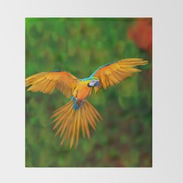 Flying Golden Blue Macaw Parrot Green  Art Throw Blanket