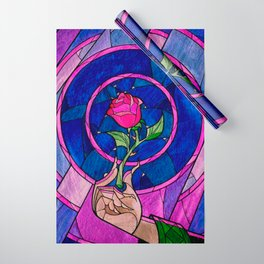 Enchanted Rose Stained Glass Wrapping Paper