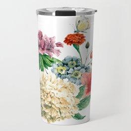 Beautiful BLUE, PINK AND ORANGE - Butterfly - Jersey Beauty Flower Travel Mug