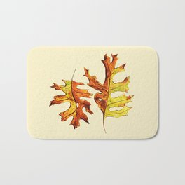 Ink And Watercolor Painted Dancing Autumn Leaves Bath Mat