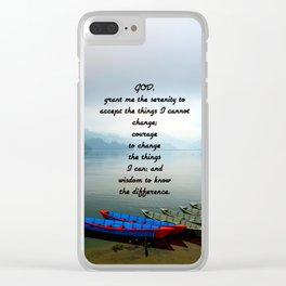 Serenity Prayer With Phewa Lake Panoramic View Clear iPhone Case
