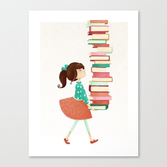 Library Girl Canvas Print