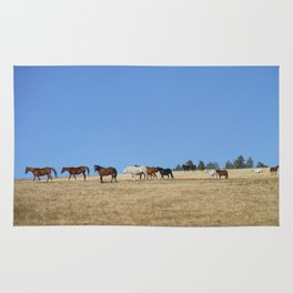 Horses in the Pasture Photography Print Rug