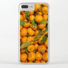 Orange mandarins with green leaves Clear iPhone Case