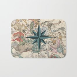 Compass Graphic with an ancient Constellation Map Bath Mat