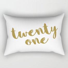 Twenty One / 21 Glitter Birthday Quote Rectangular Pillow