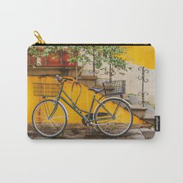 Bicycle Parked at Wall, Lucca, Italy Carry-All Pouch