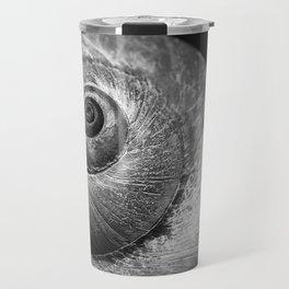 Black and White moon Snail shell Travel Mug