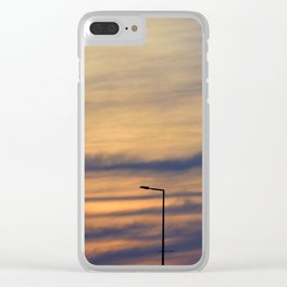 Silhouette of lights on a quiet bridge Clear iPhone Case